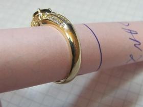 Изготовление кольца  из желтого золота 585 пробы,  с сапфиром и бриллиантами.
