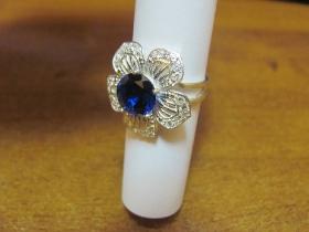 Изготовление кольца из серебра с цирконием  и синим камнем